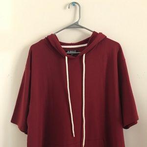 F21 Burgundy Red Short Sleeve Hoodie